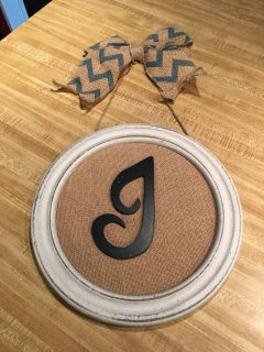 10 wooden and burlap monogrammed sign