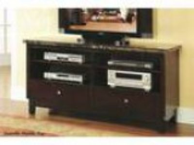 Danville black marble top TV stand entertainment console with