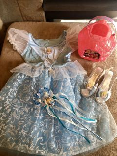Fit For A Princess!! Glittering Cinderella Ballgown, Glass Slippers, Wand, Princess Candy Pail & Cinderella Wig