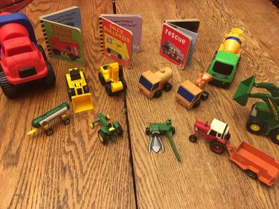 Trucks, tractors and construction set of books and toys
