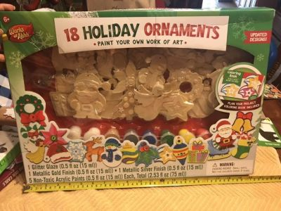 NIB Paint your own Wooden Holiday ornaments. $5.00