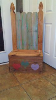 Handmade hand-painted girls toy/ Storage bench chest Product of cute things with names