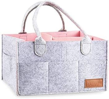 New Grey and Pink Diaper Caddy