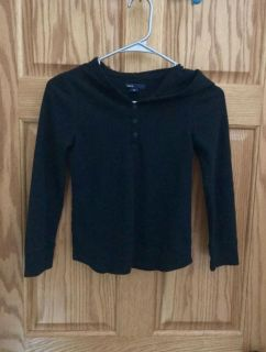 Gap Black Hooded Top with four buttons at neckline. Size 8.