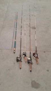 Grandpas lot of fishing rods and reels.