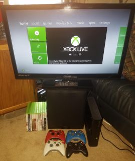 Xbox 360 250GB Console, (4) Wireless Controllers, (10) Games, More