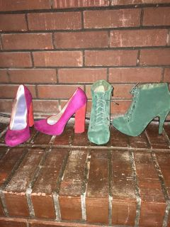 Colored suede heels pink orange green block stilettos booties pumps sz7
