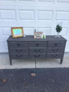 Slate gray triple dresser/buffet/TV console/changing table/double vanity