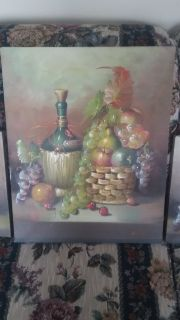 3 painted grape pictures for the kitchen