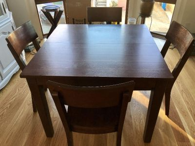 World Market Dining Table with Leaf + 4 Chairs