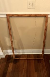 Wood Frame w/o Glass. 36 x 24 inside. Total frame is 38.5 x 26.5 outer edge. Hanging hardware