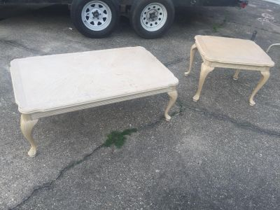 Wood coffee table and end table
