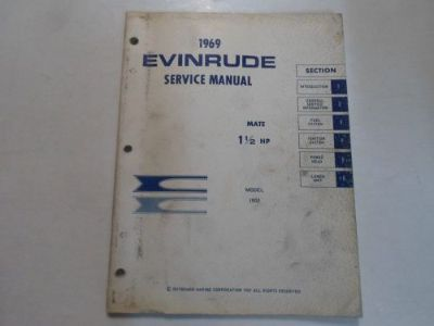 Purchase 1969 Evinrude Mate 1 1/2 HP Model 1902 Service Manual WATER DAMAGED STAINED 69 motorcycle in Sterling Heights, Michigan, United States, for US $19.95