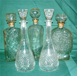 5 collectible glass decanters
