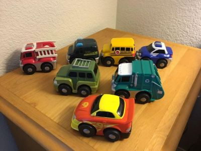 Pull back and Go cars and trucks. Set of 7.