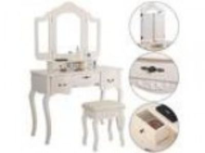Giantex Tri Folding Vintage White Vanity Makeup Dressing Table S