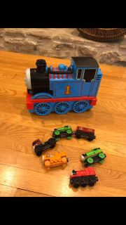 Thomas train case and wooden trains