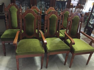 Eight solid wood chairs