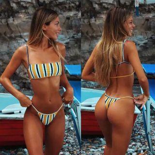 Yellow striped bikini