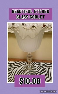 Beautiful Etched Glass Goblet