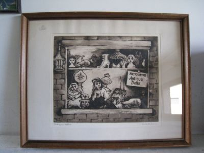 Earl Klein- ''Antique Dolls''- etching, signed and titled in pencil