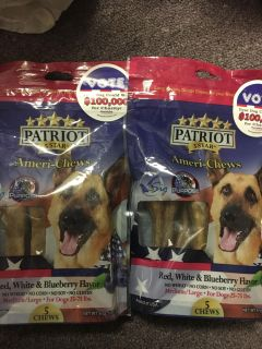 2- 6 ounce bags Of patriot America choose red white and blue berry flavor dog treats