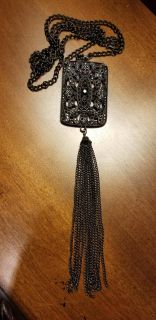 Really Cool Long Black Tassel Necklace