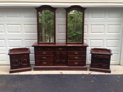 Dresser, mirrors, and nightstands