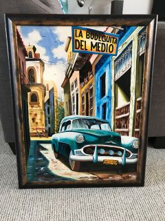 Original Cuban painting - custom framed