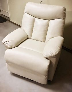 White Leather Recliner / Electric Lift Chair