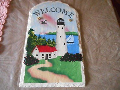 """14"""" Hand Painted LIGHTHOUSE WELCOME Picture Wall Decor!"""