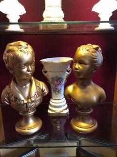 Boy/girl gold head bust statue