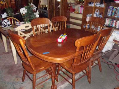 Oak Ball and Claw Table and Six Chairs Set