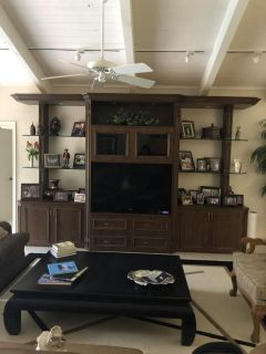 Wall unit with Wood & glass shelves & lighting