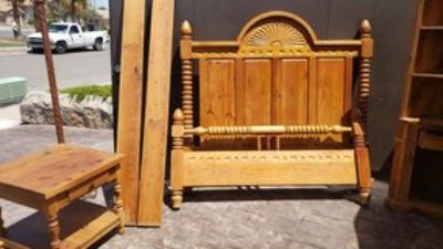 solid wood bed frame, hand carved headboard and side table