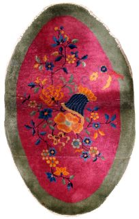 Handmade antique oval Art Deco Chinese rug, 1B634
