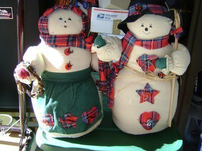 Mr. & Mrs. Snowman - Almost 16 Inches Tall - Weighted Base