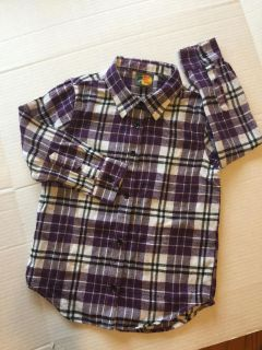 Bass pro shops girl size medium purple flannel button up shirt-(b91)-New without tags!