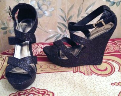 """""""Bamboo"""" Black Sequin Sparkle Wedge Heeled Shoes"""