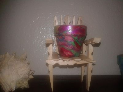 Clothespin chair wood painted flower pot