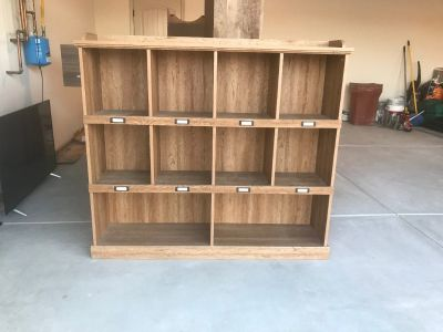 Sauder Oak Finish Cubby Shelf
