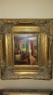 Authentic Oil Painting: Parlor Scene