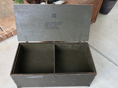 Vintage Wooden Military Foot Locker with Insert