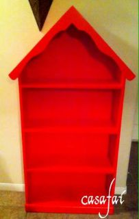 Red doll-house bookshelf
