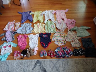 30 piece lot of 0-3 mo girls clothes and shoes