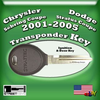 Sell New Chrysler Sebring Coupe & Dodge Stratus Coupe Transponder Ignition Door Key motorcycle in Morgan Hill, California, US, for US $14.99