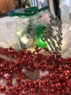 Handcrafted items for Xmas. Lighted led gift box