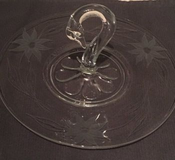 Glass serving tray/platter with swan handle