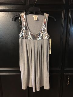 NWT adorable cotton stretch tunic dress with side pockets sequin accents on yoke in front and back