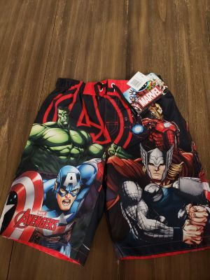 Brand New With Tags Marvel Avengers Swim Trunks Size 7